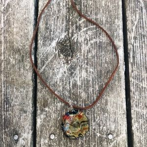 Artisan Blown Glass Circle Pendant Necklace